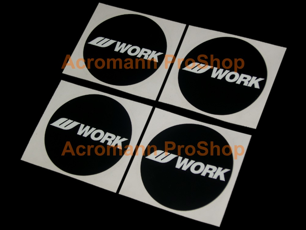WORK Wheels 2.2inch Wheels Cap Decal (Style#1) x 4 pcs